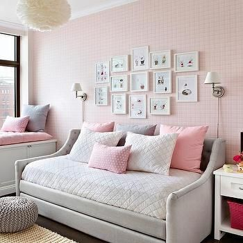 Heather Gray and Pink Nursery with Devyn Tufted Upholstered Daybed .
