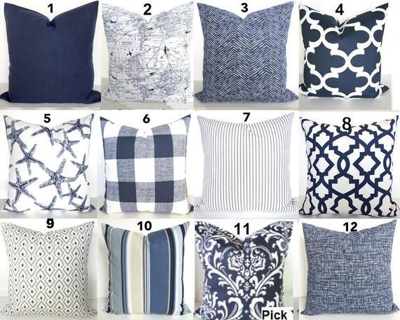 Blue Pillows Blue Throw Pillows Navy Blue Decorative Pillow | Et