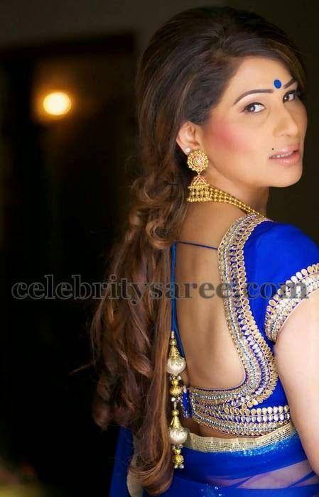 Shreedevi in Deep Neck Blouse | Beautiful blouses, Blouse design .