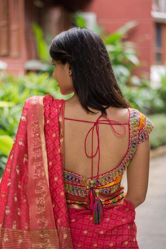 14 Sassy Deep Back Neck Blouse Designs For Sarees | Blouse designs .
