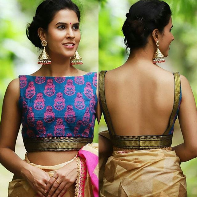 14 Sassy Deep Back Neck Blouse Designs For Sarees | Stylish blouse .