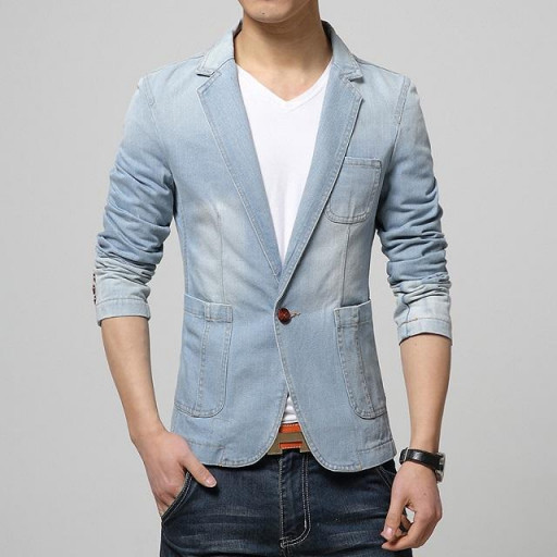 2016 New Autumn Men's Brand Clothing Denim Blazers Jacket Plus .