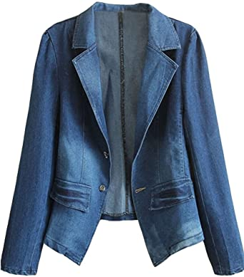 HOOBEE DENIM Women's Long Sleeve Denim Blazer Jacket Suits at .