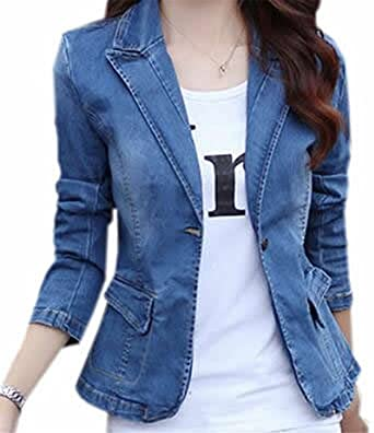 Labaqiangj Womens Turndown Collar Button Down Blazer Denim Jacket .