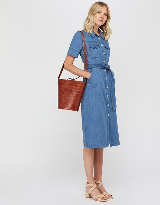 Gerri Denim Midi Dress | Blue | UK 8 / US 4 / EU 36 | 6500933908 .