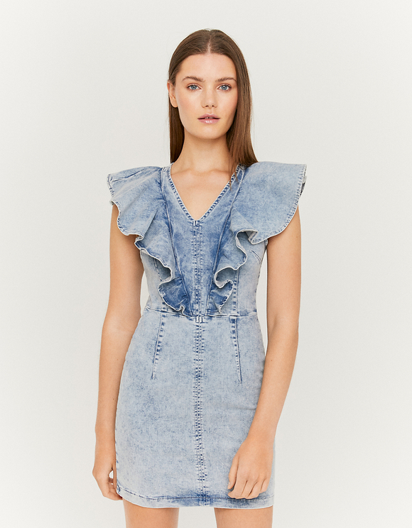 Bodycon Denim Dress with Ruffles | TALLY WEiJL Online Sh