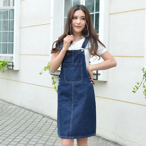 Summer women denim dress denim sundress girls Ethnic loose .