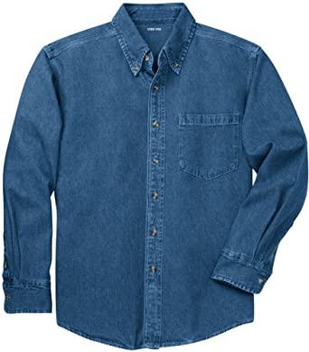 Joe's USA Mens Long Sleeve Heavyweight Denim Shirts XS-4XL at .
