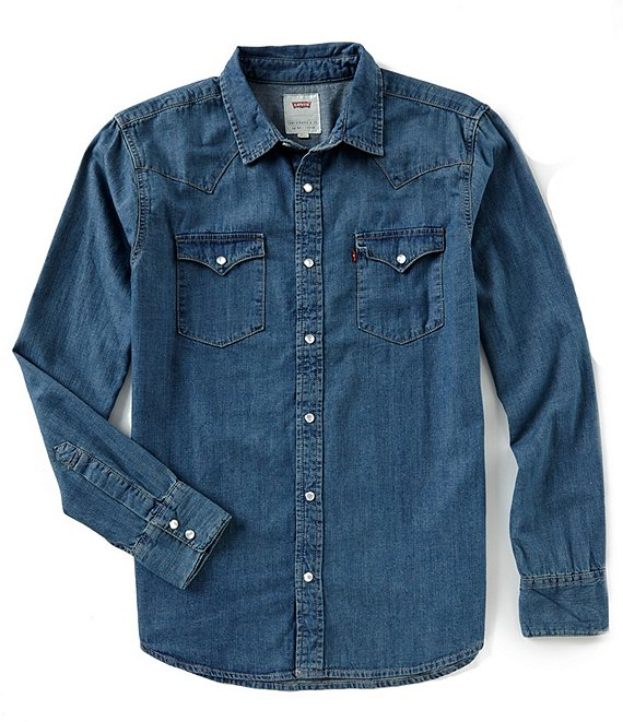 Levi's® Young Men's Slim Fit Barstow Solid Snap-Front Denim Shirt .