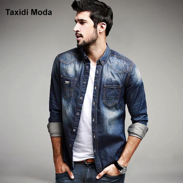 Autumn Mens Fashion Denim Shirts 100% Cotton Blue Brand Clothing .