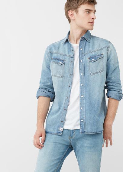 Mango Man Slim Fit Light Denim Shirt, $59 | Mango | Lookastic.c