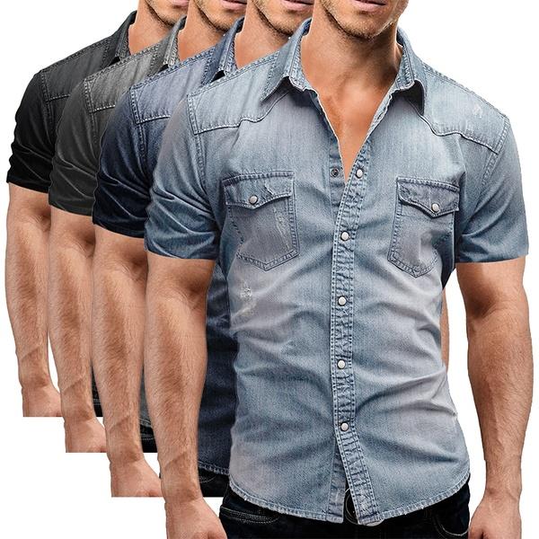 Summer Casual Denim Shirts Short Sleeve Washed Men Loose Denim .