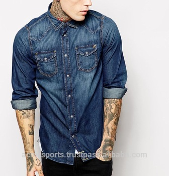 Denim Shirt With Long Sleeves - Mens Denim Shirts In Top Quality .