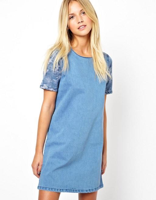 ASOS Denim Tunic Dress with Camo Print Panel | AS