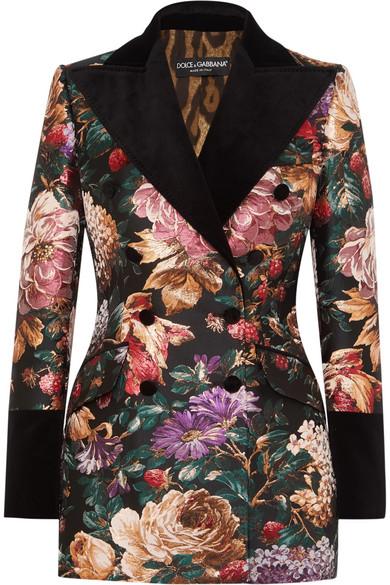 Dolce & Gabbana | Double-breasted velvet-trimmed floral-jacquard .