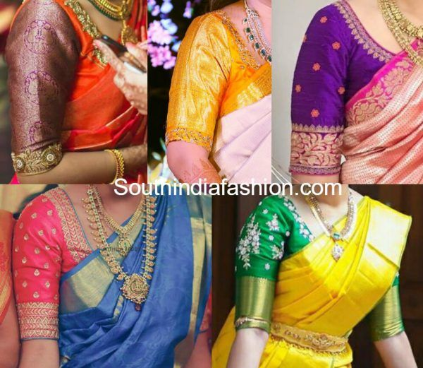 simple elbow length sleeves blouse designs for pattu silk sarees .