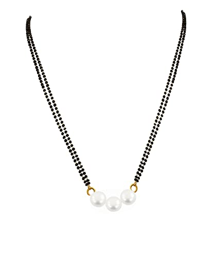 Buy BFC Gold Plated Pearl Designer Mangalsutra with Black Bead .