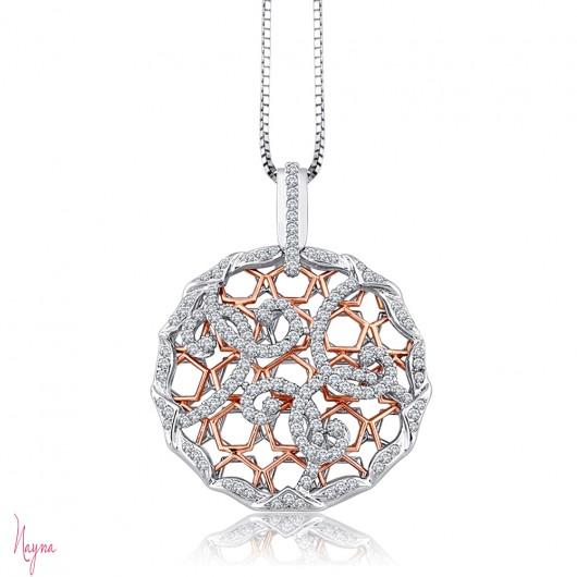 14 KT 1 7/8 ct Designer Pendant Studded with White Diamonds Set in .