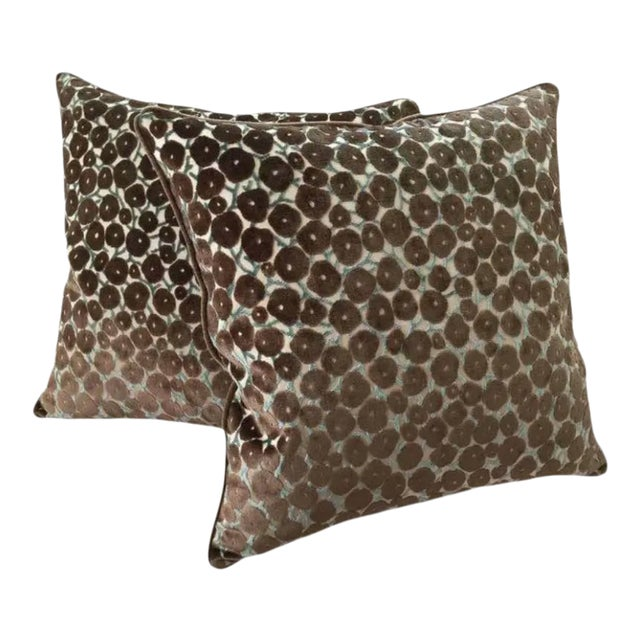 "Clarence House ""Trocadero"" Silk Cut Velvet Designer Pillows - a ."