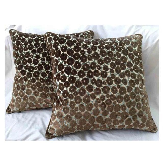 "Clarence House ""Trocadero"" Silk Cut Velvet Designer Pillows - Set ."