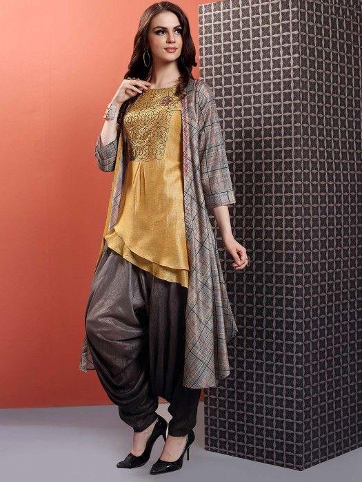 Mustard Yellow Hue Cotton Silk Dhoti Suit, latest designer salwar .