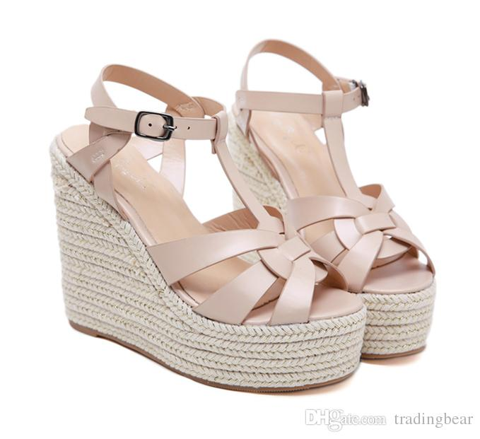 Fashion Designer Sandals Ladies Wedge Sandals Beige T Strappy .