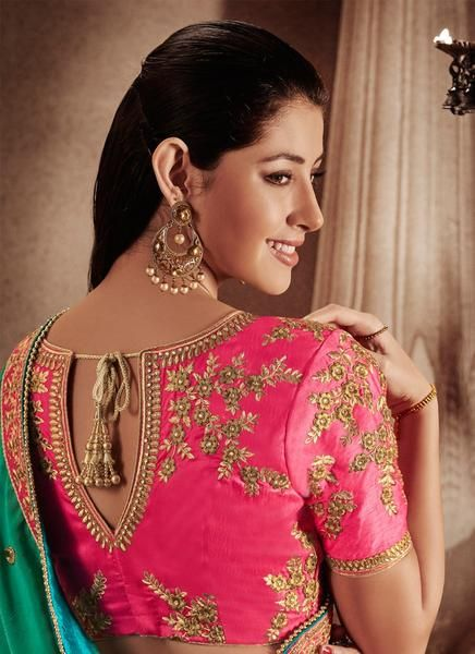 Pink With Shaded Green Jacquard Partywear Saree | Bridal blouse .