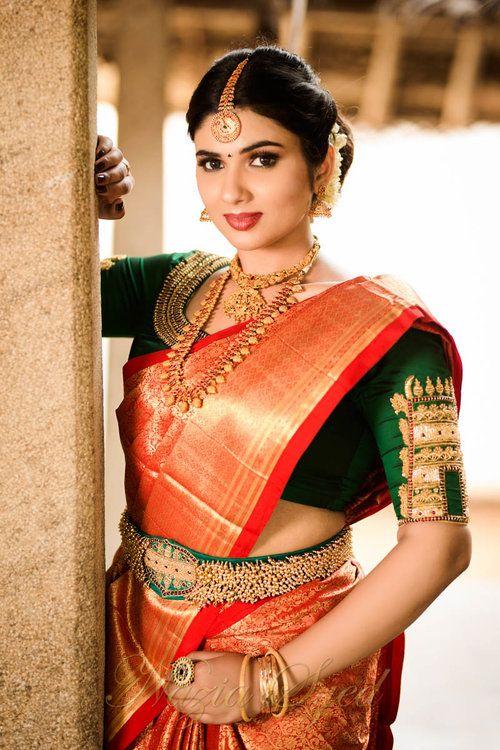 Temple Collection | Bridal blouse designs, Wedding blouse designs .