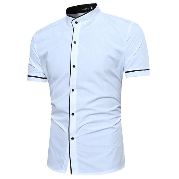 Casual Business Solid Color Stand Collar Short Sleeve Designer .