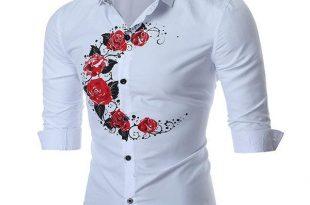 Band Collar Designer Shirts for Men British Style Rose Printing .