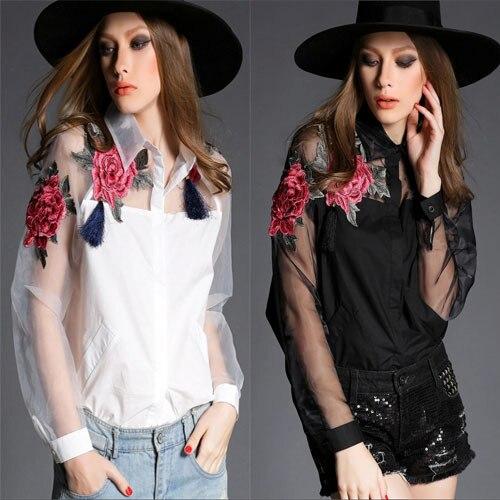 2015 New Us Style Fashion Luxury Blouse Full Sleeve Women Designer .