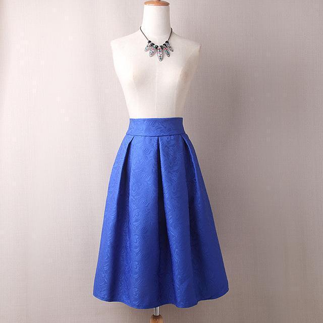 Women's Jacquard Pleated Fashion Designer Skirts (Midi .