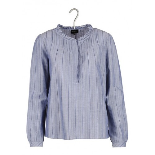 BERENICE Striped lurex cotton-blend top Blue Women's Designer Tops .