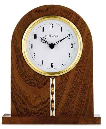 Bulova B5401 Hampton Wood Desk Clock - The Clock Dep
