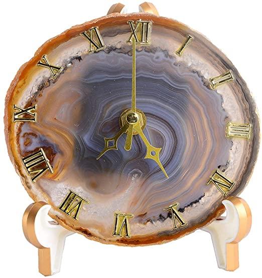 Amazon.com: AMOYSTONE Nature Agate Desk Clocks for Office Decor .