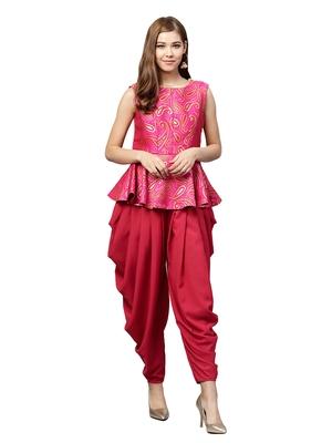 Inddus Pink Brocade Self Design Dhoti Kurta Set - Inddus - 27783
