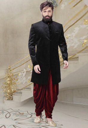 Embossed Velvet Dhoti Sherwani in Black (With images) | Indian men .