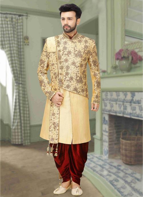 Buy Gold Brocade Wedding Wear Embroidery Work Dhoti Sherwani .