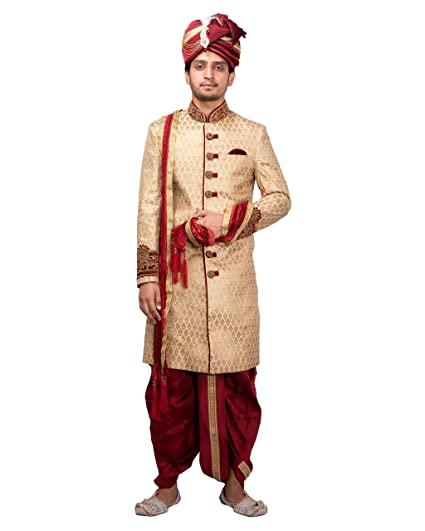 Buy Dulhaghar Men Designer Golden Sherwani with maroon Dhoti set .