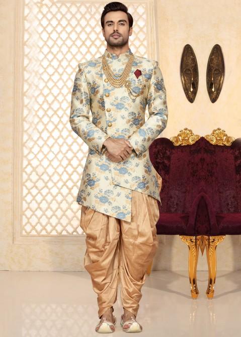 Off-White Asymmetrical Sherwani With Dhoti Men 204MW