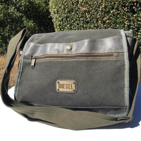 Diesel Bags | Olive Green Canvas Messenger Bag | Poshma