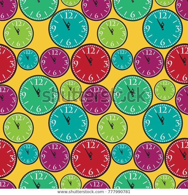 Large Small Clocks Different Colors Seamless Stock Illustration .