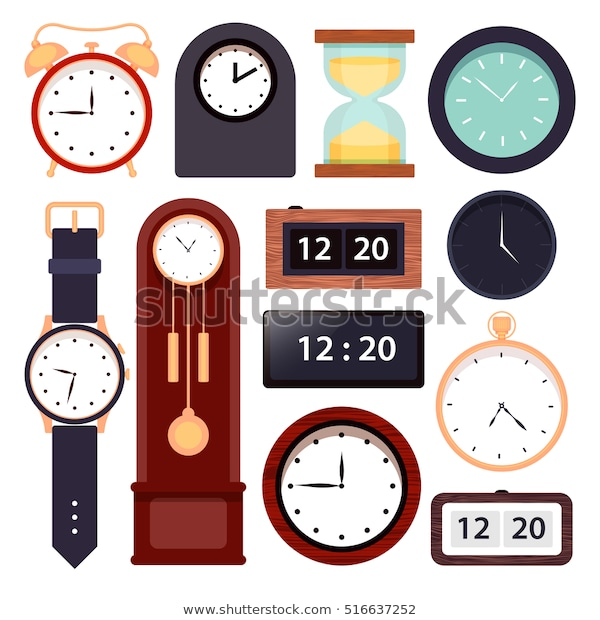 Clock Setvector Illustration Different Types Clock Stock Vector .