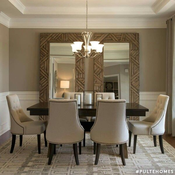 Large mirrors in dining room, Nice idea for a room that feels a .