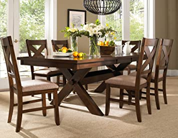 Amazon.com - Roundhill Furniture Karven 7-Piece Solid Wood Dining .