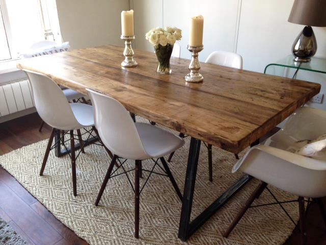 VINTAGE INDUSTRIAL DINING 6ft FARMHOUSE TABLE & BENCH & 4 EAMES .