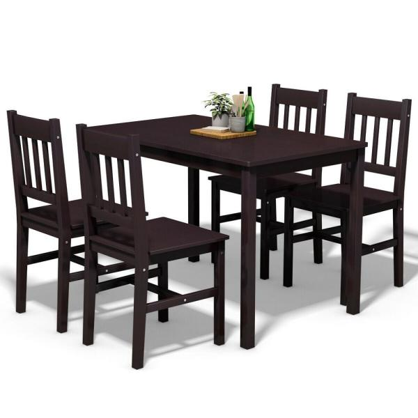 Costway 5-Piece Brown Wood Dining Table Set 4-Chairs Home Kitchen .