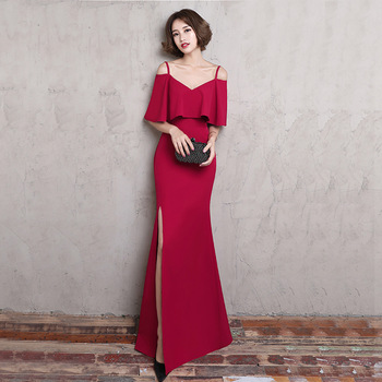 Spaghetti Strap Red Floor Length Evening Dinner Dress For Ladies .