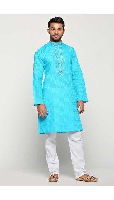 Diwali Firozi Cotton Kurta Pajama - 5121 | Mens pajamas, Kurta men .