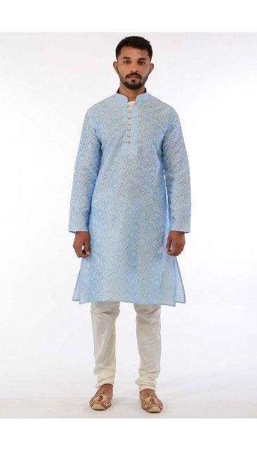 Andaaz Fashion Presents Diwali Wear Blue Jacquard Dupion kurta .